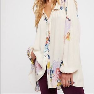 Free People Meadow Lark Floral Button Down Shirt